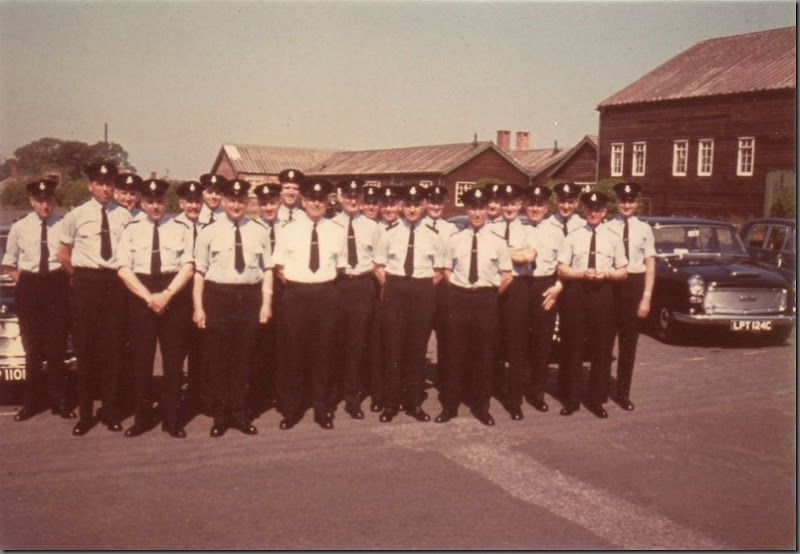 Advanced Course, students at the front and instructors at the rear. Sedgefield, 1966?, 2 Westminsters LPT 124C and HUP 110D, My Dad's Jag Mk II, BUP 75B is behind