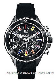 Nautica NST Chrono watches 2013 Ceramic N43509G Black White N43508G signal flag Stainless Steel timepiece signature J-class hour marker logo crown chronograph leather strap Nautica Boutiques USA, Cananda, Asia, Europe, Singapore