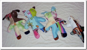 Patched Fleece Plush Animals