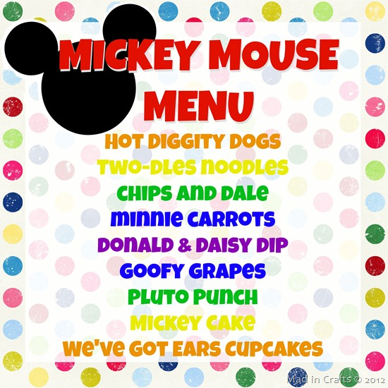 mickey mouse menu