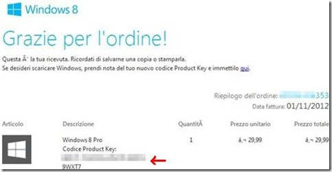 Product Key Windows 8 nell'email della Microsoft