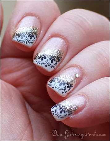 0 French Nail Art Baroque Gold Glitter 9