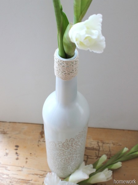 White & Ecru Lace Stenciled Bottle via homework (2)