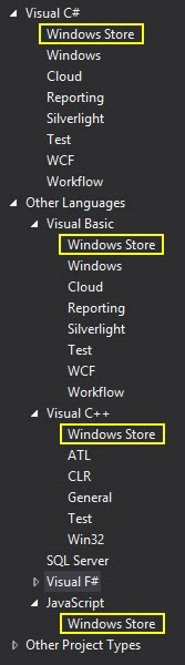Windows Store Project Templates in Visual Studio 2012