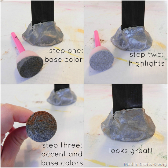 Painting Air Dry Clay to Look Like Stone