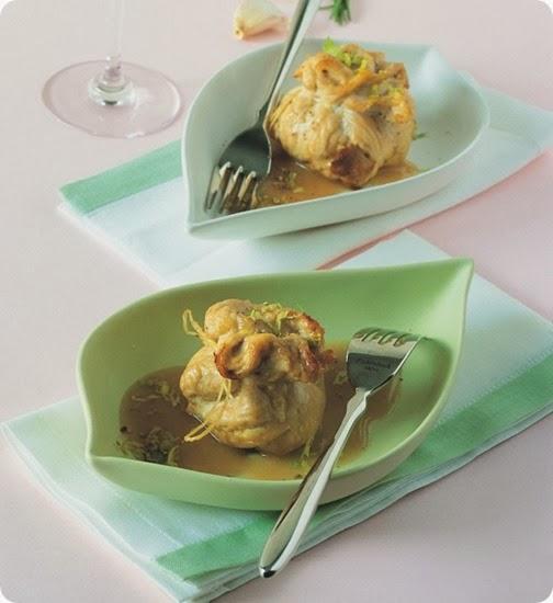 Fagottino di tacchino con patate e fegato d'oca