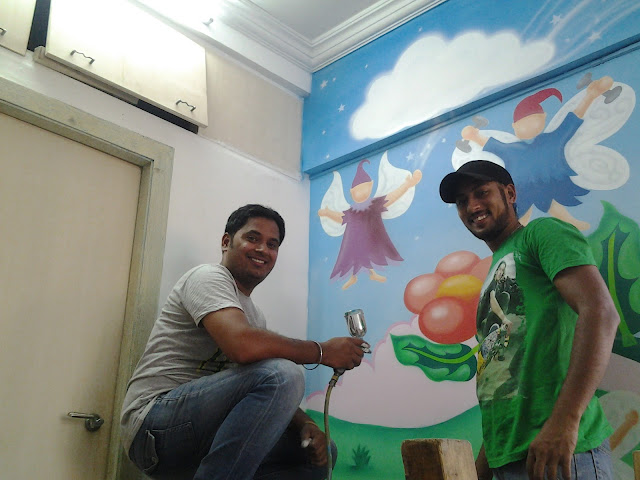 Kindergarten and Day Care  Cartoon Wall Art Work In Mumbai