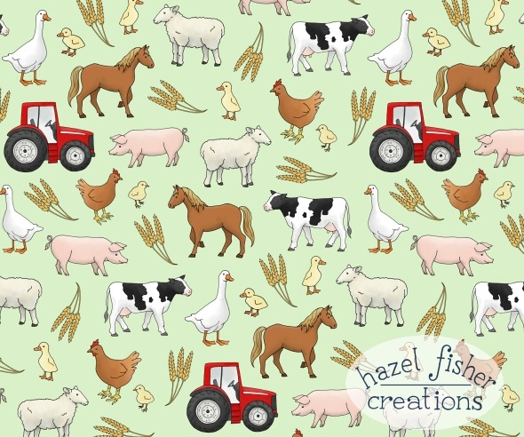 2014 June 20 spoonflower farm weekly design contest tractor animal