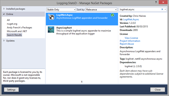 Testing Log4Net Async with statsd and Graphite ~ andyfrench info