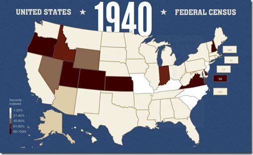 Familysearch索引1940年度人口普查进度截至2012年4月16日