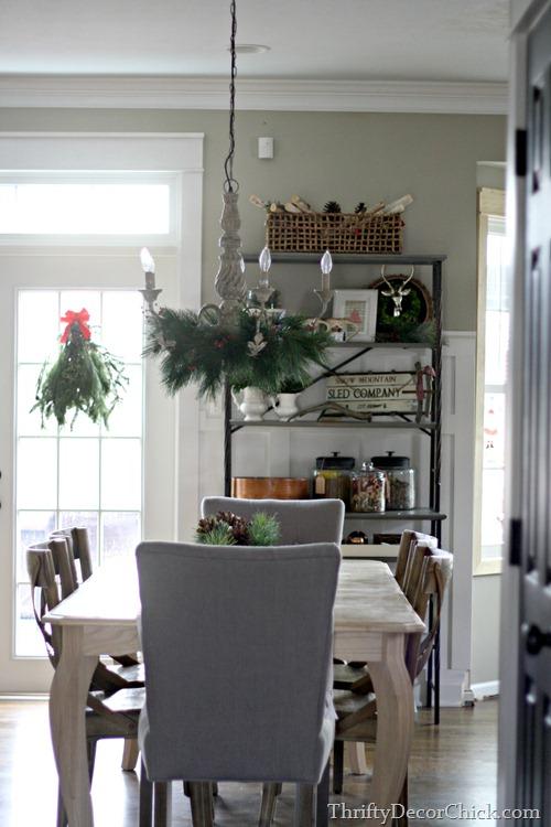 kitchen shelves Christmas decorating