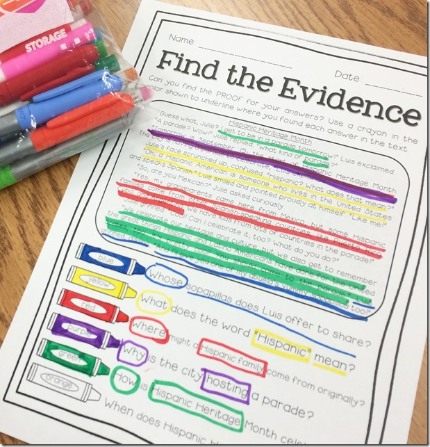 Super Text Detectives- color-coded text evidence from Luckeyfrog Learning