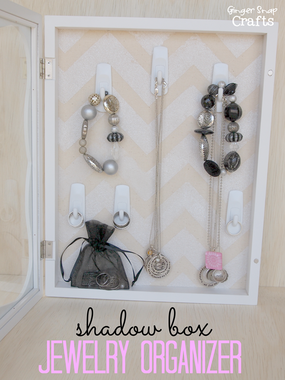Shadow Box Jewelry Organizer #gingersnapcrafts #decoart #tutorial #organization