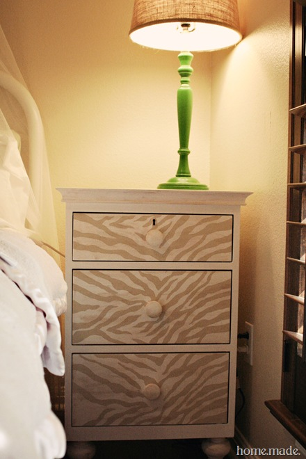 Home Made Zebra Nightstand Makeover