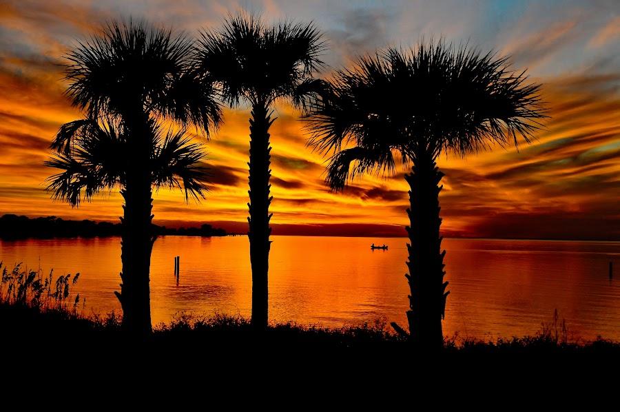 St. George Sunset by Richard Baas - Landscapes Sunsets & Sunrises ( tallahassee, richard baas, florida, 2010, , blue, orange. color )