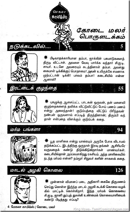 Mekala Comics Issue No 01-A Summer Special June 1995 Index
