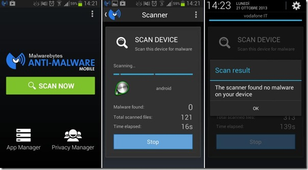 Malwarebytes Anti-Malware app Android Scansione