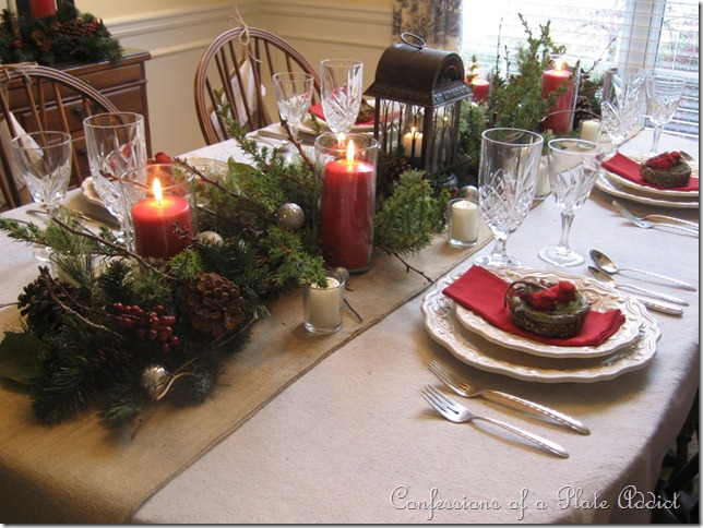 And there you have itmy rustic Christmas tablescape with evergreens and  burlap. What do you think? I still have lots more that I am working on, ...