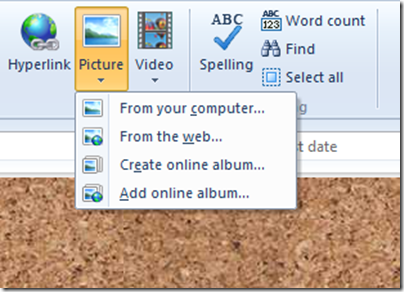 livewriter home toolbar closeup picture options