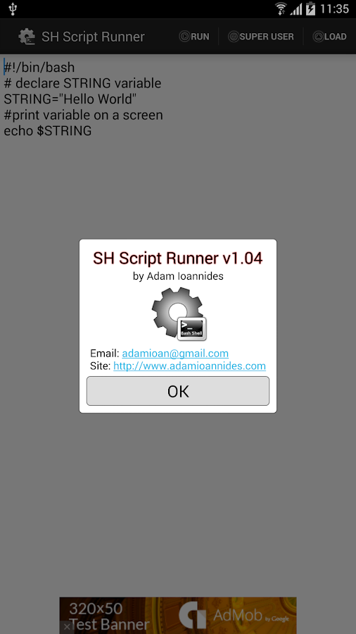 SH Script Runner - screenshot
