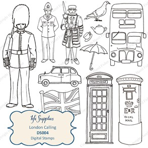 DS004 London Calling digital stamps clip art 1