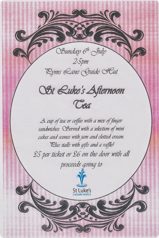 St Lukes Afternoon Tea – Sat 6 July 2014 – 2-5pm – Pyms Lane