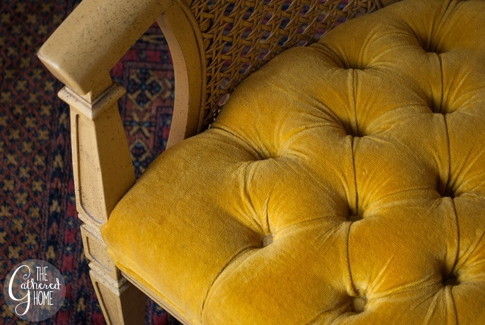 thriftscorethursday tufted yellow velvet caned chairs7