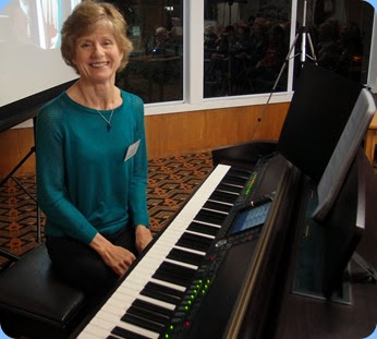 Denise Gunson played the Club's Clavinova CVP-509 for us. Photo Courtesy of Dennis Lyons.