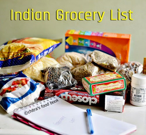 Grocery list indian