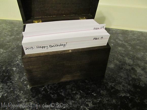 diy perpetual calendar using a recipe box and index cards