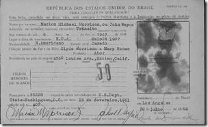 约翰韦恩'S 1952年巴西移民卡,SANS照片