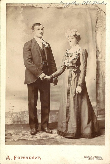 Cabinet Card Wedding holding hands but looking opposite directions Duluth