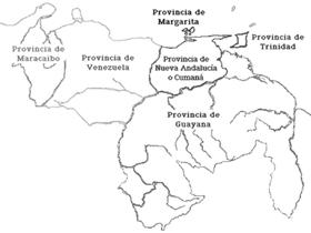 Mapa con las provincias en las que se hallaba dividida administrativamente Venezuela durante el siglo XVIII