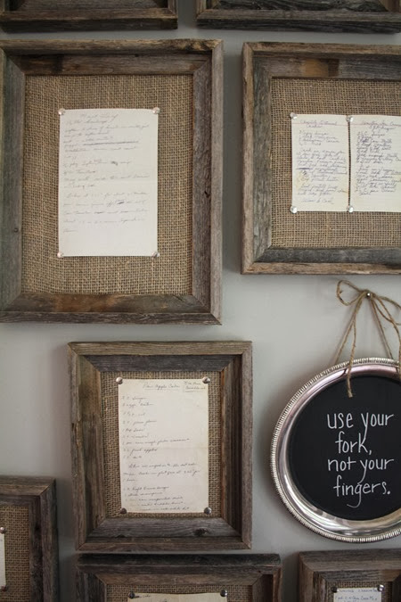 displaying old family recipes