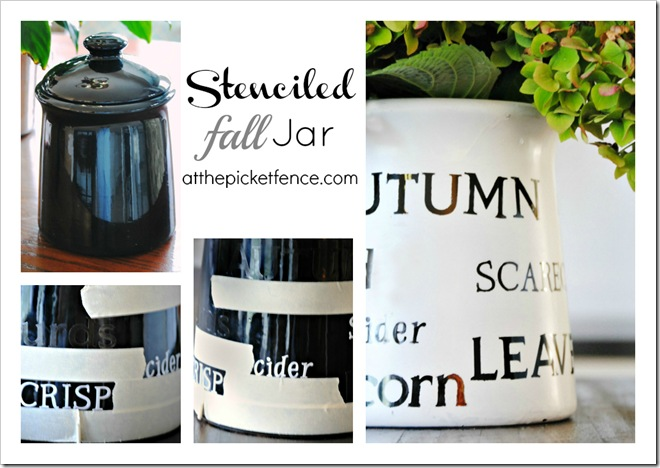 stencil, jar, fall, autumn, tutorial