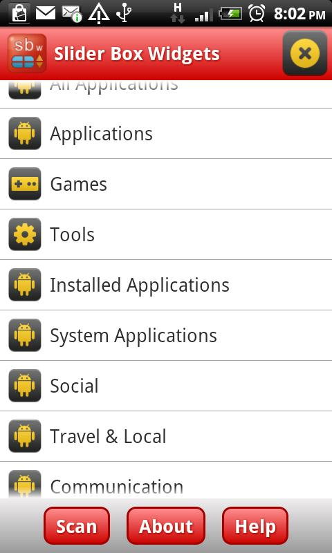 Slider Box - Apps Organizer - screenshot