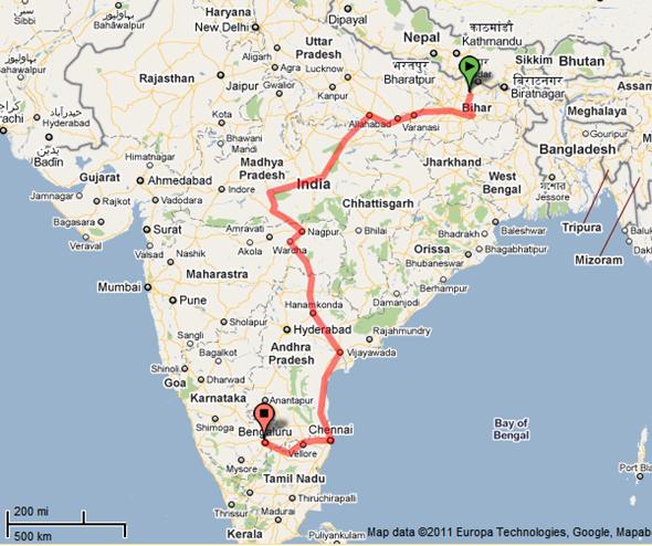 patna-to-bangalore-train-route