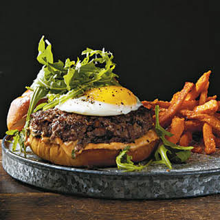 Mushroom Burgers with Fried Egg and Truffle Oil.