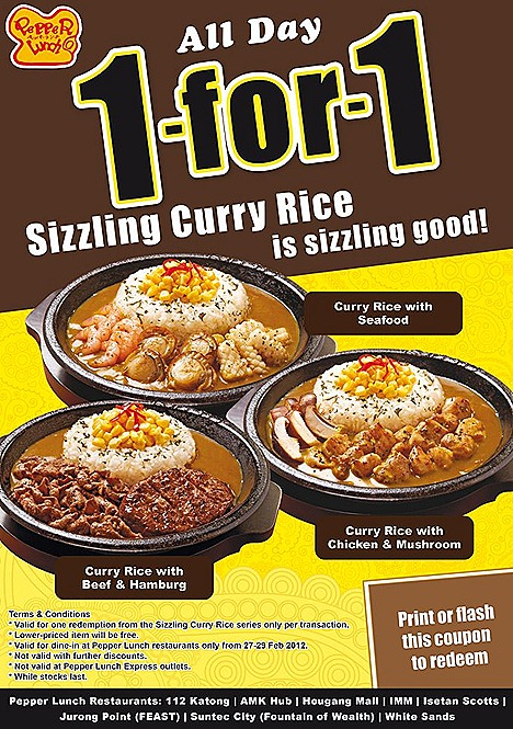 Pepper Lunch 1 FOR  1 SIZZLING CURRY RICE beef chicken seafood isetan scotts 112 katong suntec city imm amk hub jurong point