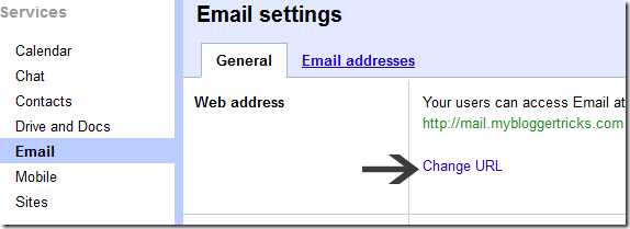 change email address url
