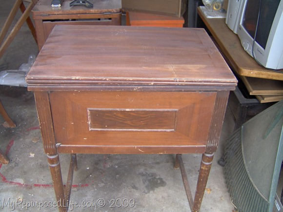old sewing machine cabinet