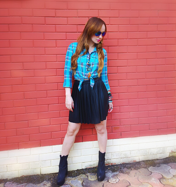 Blue Plaid Shirt & Leather Skater Skirt