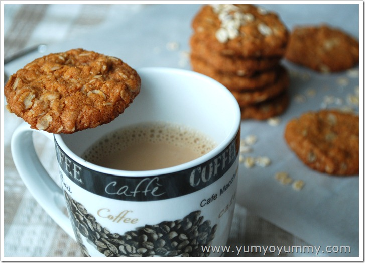 Australian coconut and oatmeal cookies