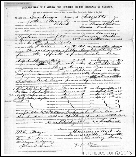 Civil War Widow's Pension,  request for increase, 1884.