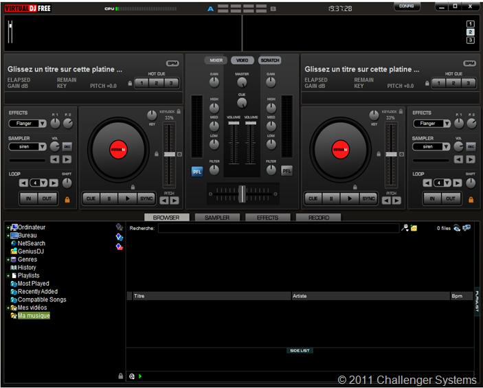 Virtual DJ. Platine