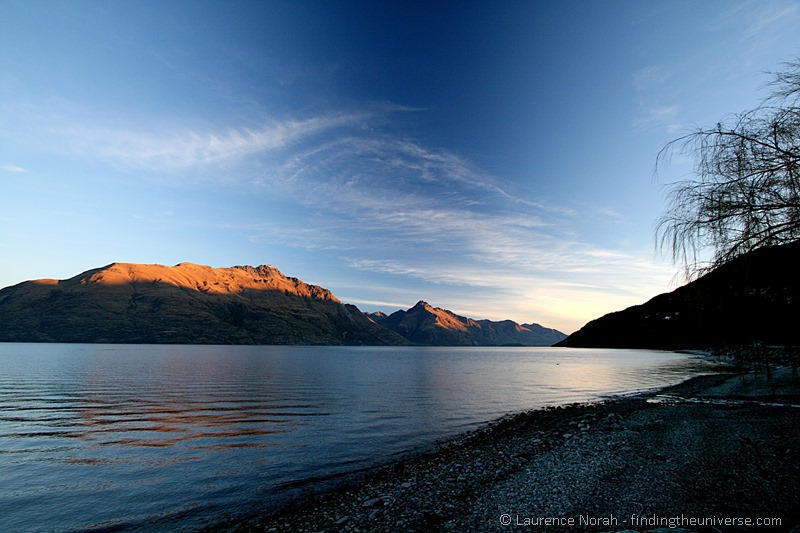 Lake Wakatipu  blue sky mountains