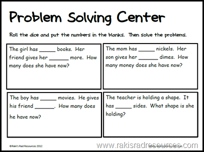free problem solving sheet for primary students from Raki's Rad Resources