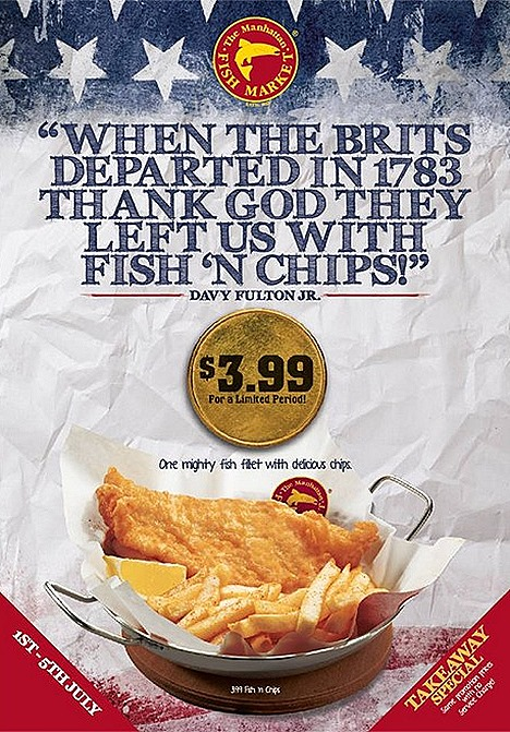 The Manhattan FISH MARKET offers Fish' n Chips $3.99 Singapore outlets located at Bugis Plus, Plaza Singapura,City Square Mall, Star Vista, JCUBE, United Square , Bedok Point, CCP,  Century Square, Junction 8, Northpoint