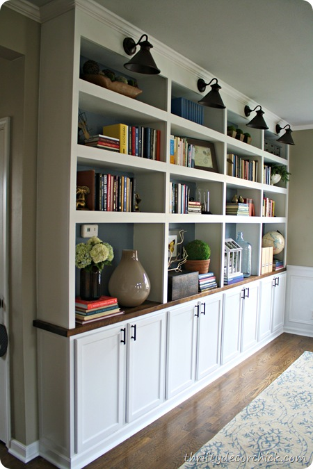 DIY built in bookcases butcher block