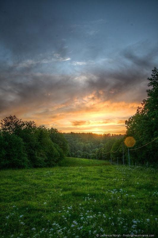 Sunset over grassy field France